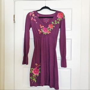 Johnny Was Embroidered Floral Long Sleeve Dress